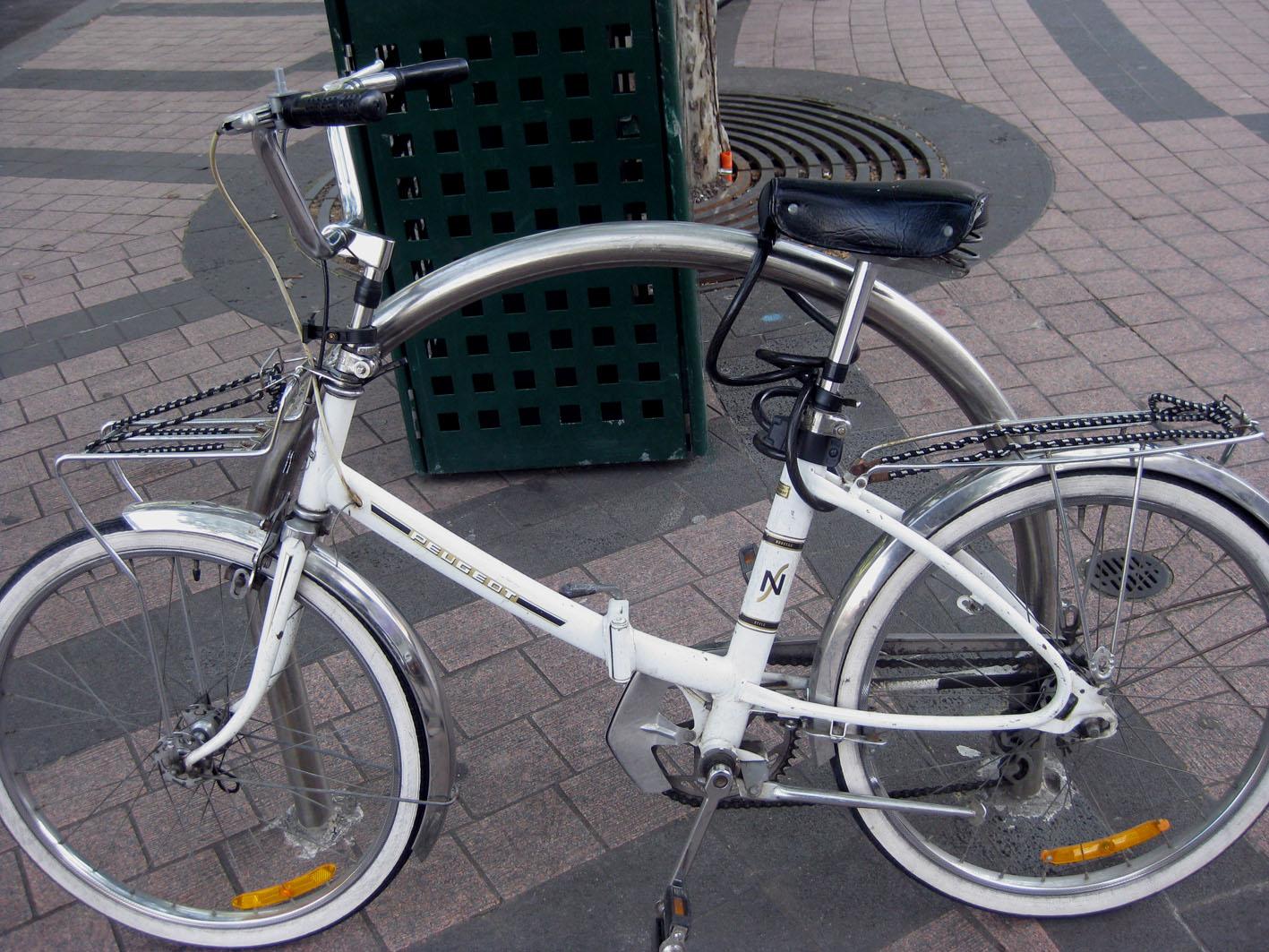 woman rescues folding peugoet from hard rubbish | little bike blog